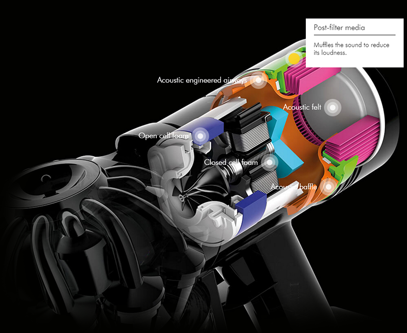 Dyson V8 is able to muffle the sound to reduce its loudness.
